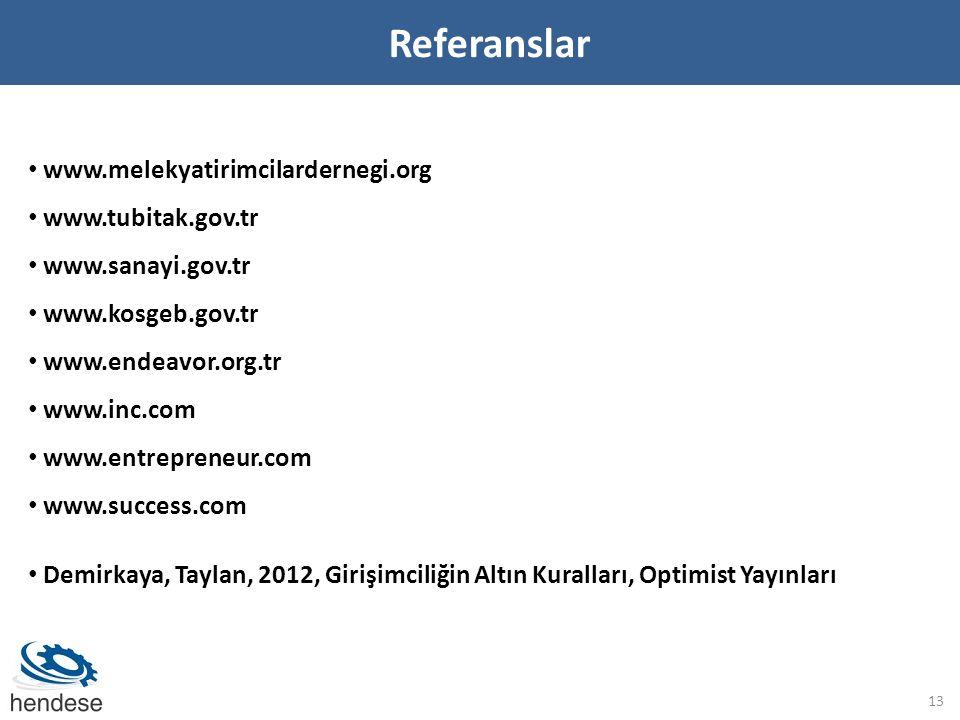 Referanslar www.melekyatirimcilardernegi.org www.tubitak.gov.tr