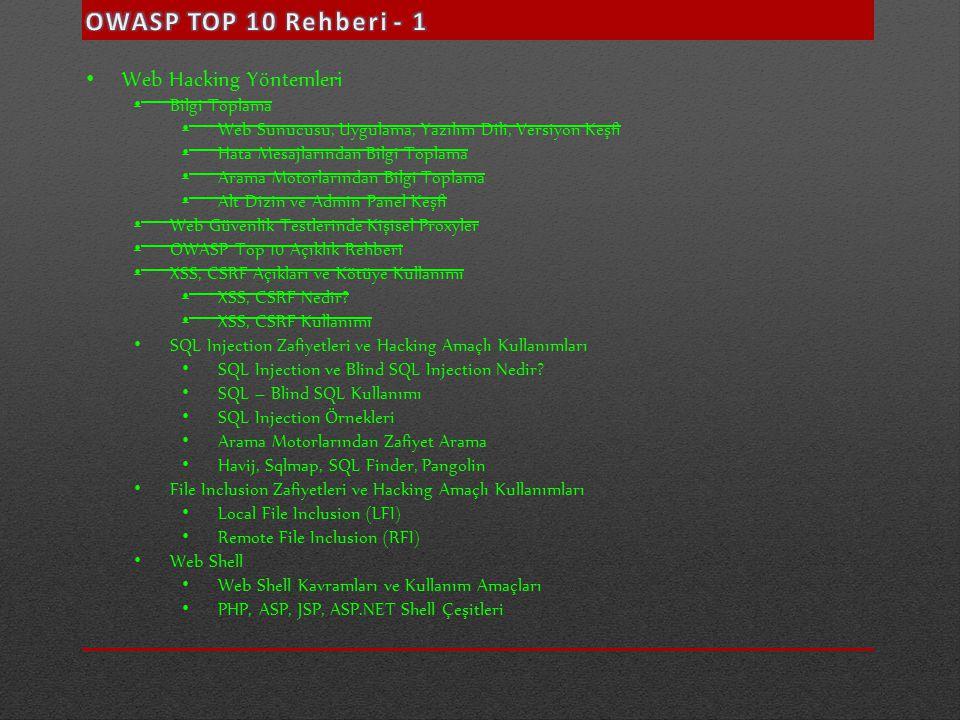 OWASP TOP 10 Rehberi - 1 Web Hacking Yöntemleri Bilgi Toplama
