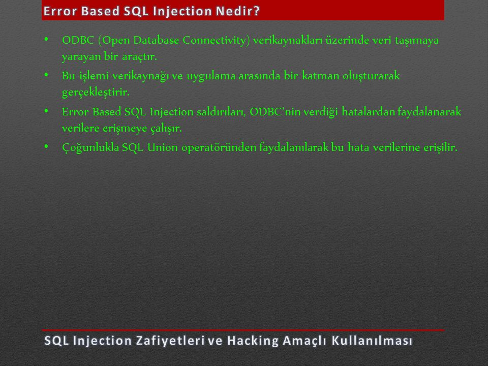 Error Based SQL Injection Nedir
