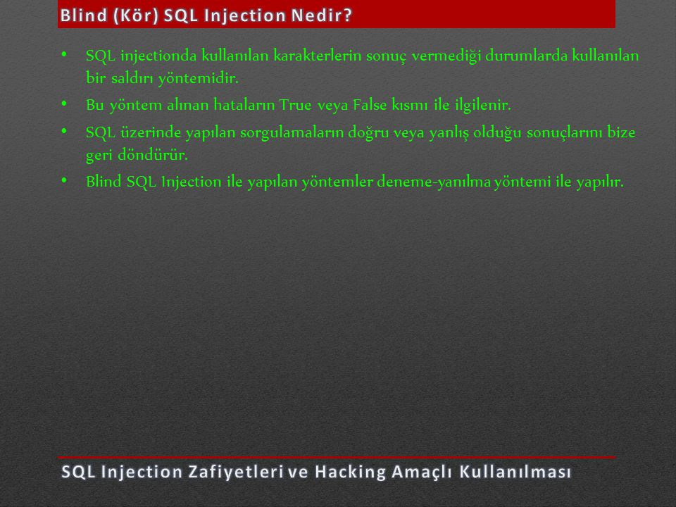 Blind (Kör) SQL Injection Nedir