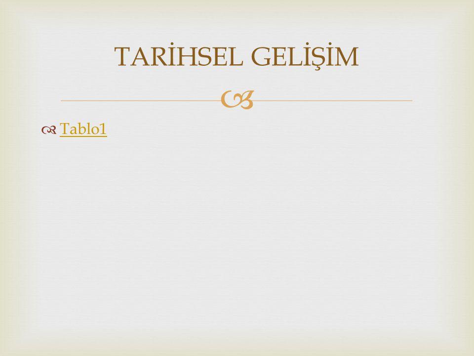 TARİHSEL GELİŞİM Tablo1