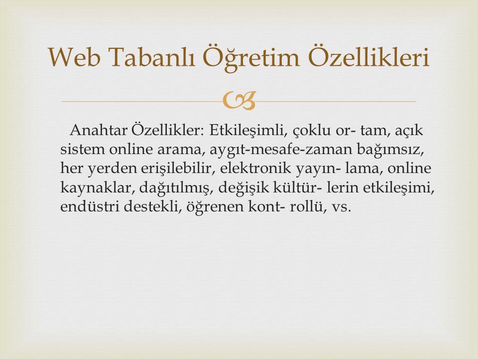Web Tabanlı Öğretim Özellikleri