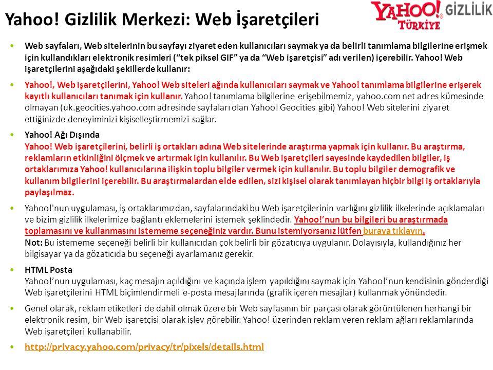 Yahoo! Gizlilik Merkezi: Web İşaretçileri
