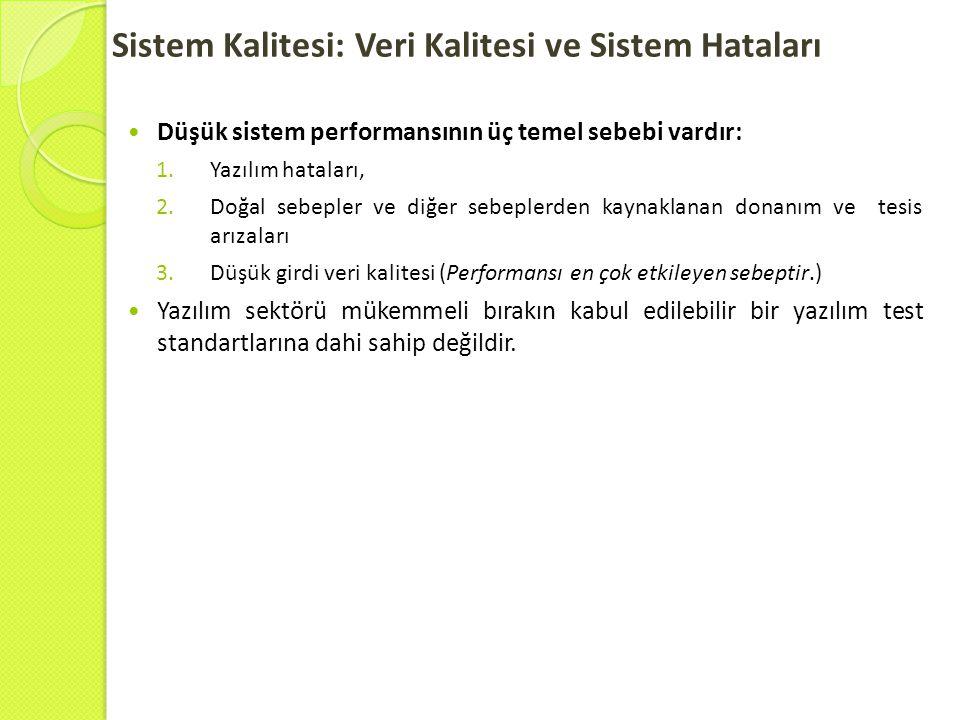 Sistem Kalitesi: Veri Kalitesi ve Sistem Hataları