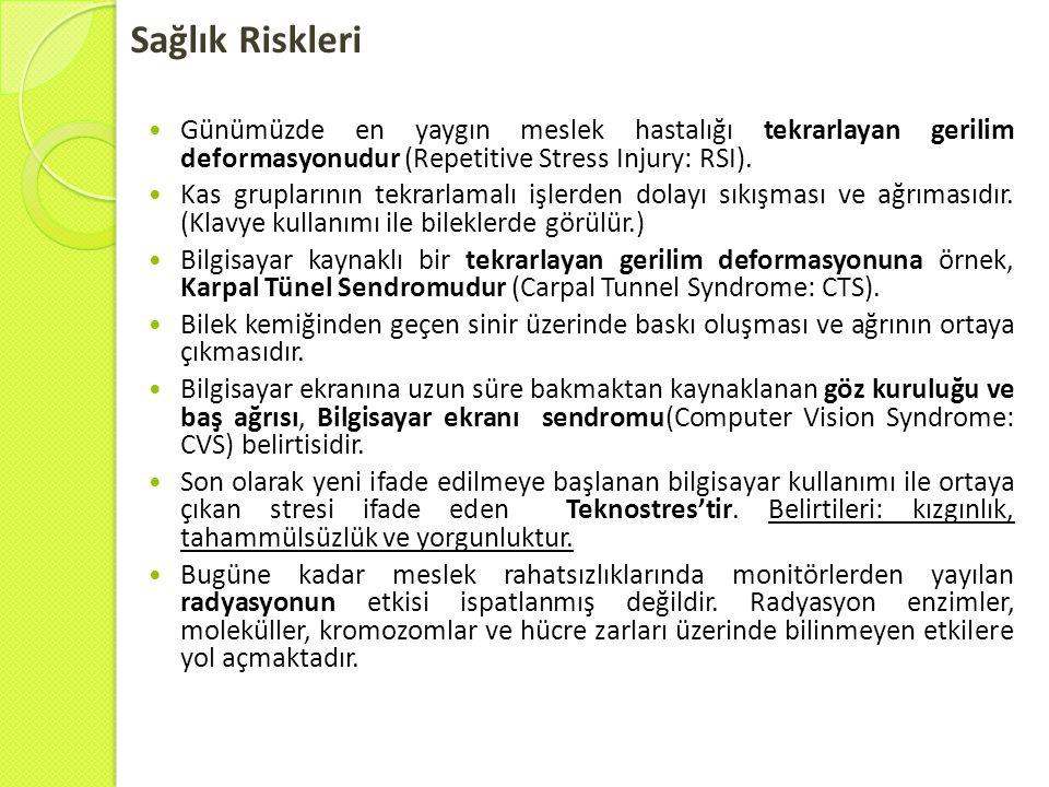 Sağlık Riskleri Günümüzde en yaygın meslek hastalığı tekrarlayan gerilim deformasyonudur (Repetitive Stress Injury: RSI).