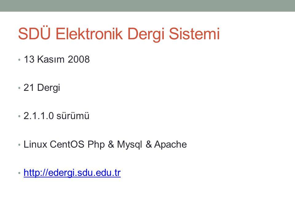 SDÜ Elektronik Dergi Sistemi