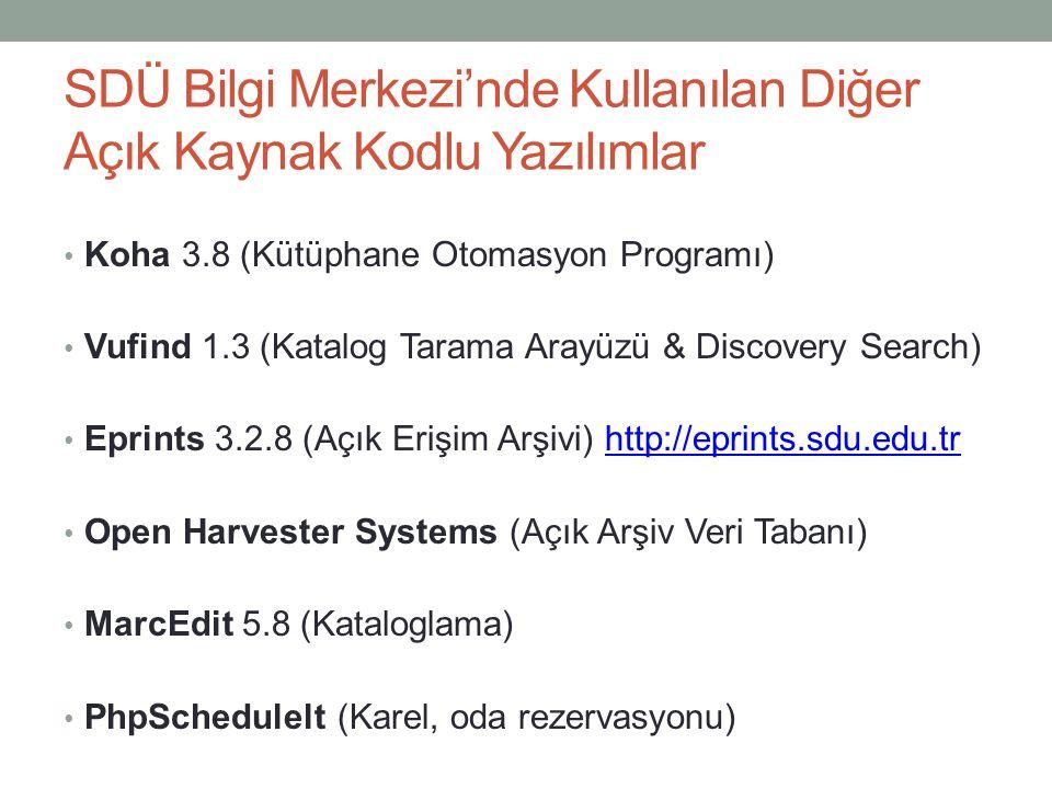 SDÜ Bilgi Merkezi'nde Kullanılan Diğer Açık Kaynak Kodlu Yazılımlar