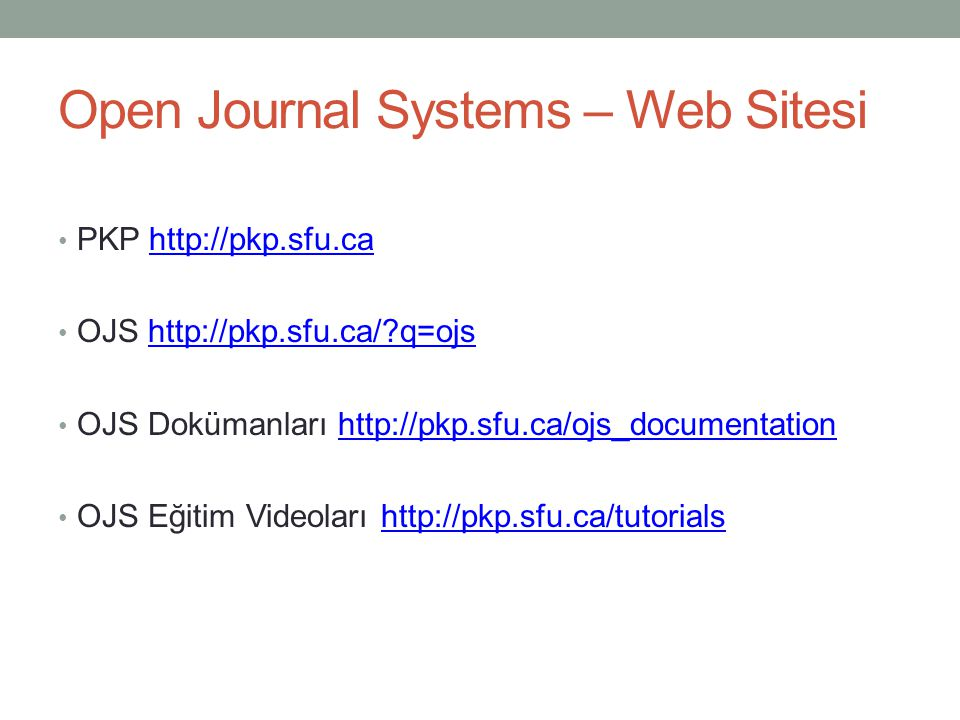 Open Journal Systems – Web Sitesi
