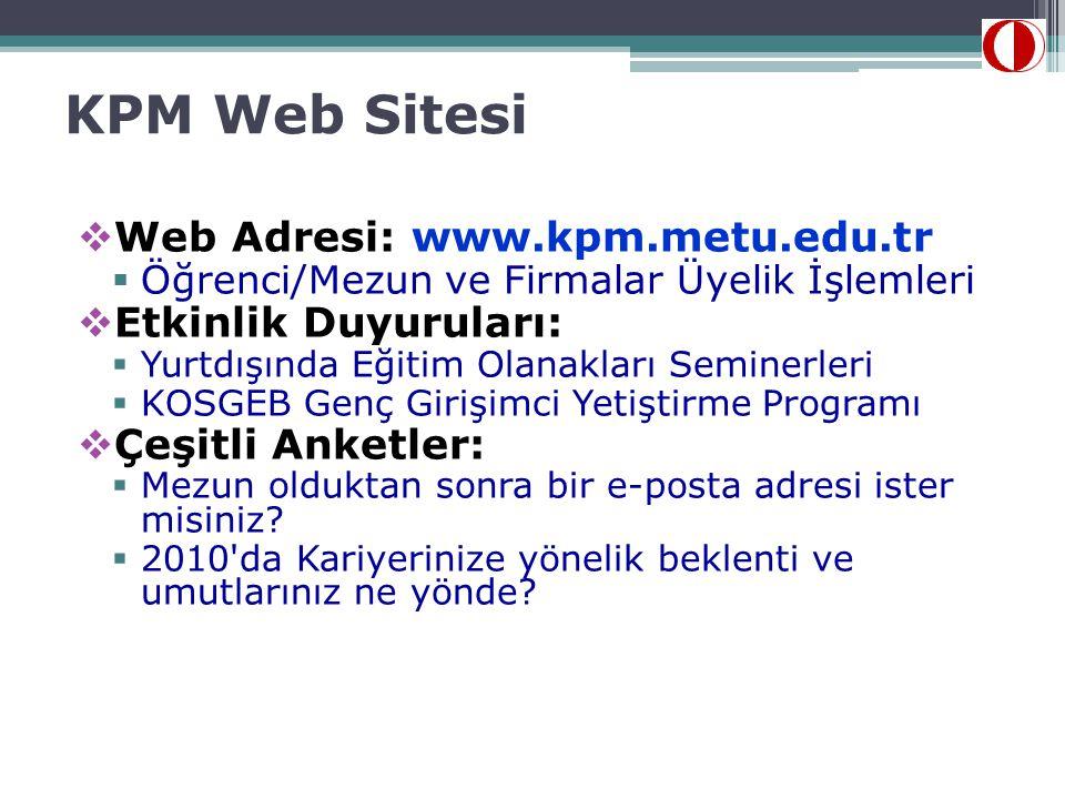 KPM Web Sitesi Web Adresi: www.kpm.metu.edu.tr Etkinlik Duyuruları:
