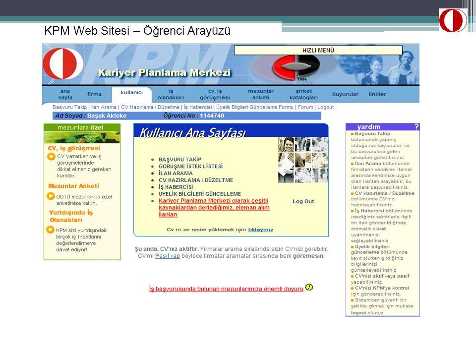 KPM Web Sitesi – Öğrenci Arayüzü