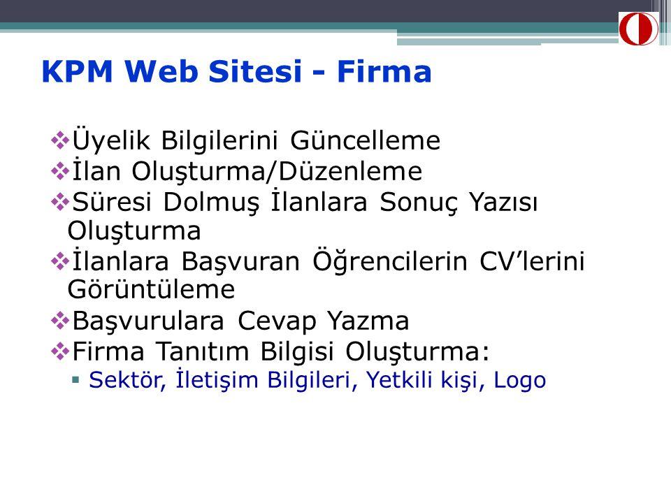 KPM Web Sitesi - Firma Üyelik Bilgilerini Güncelleme