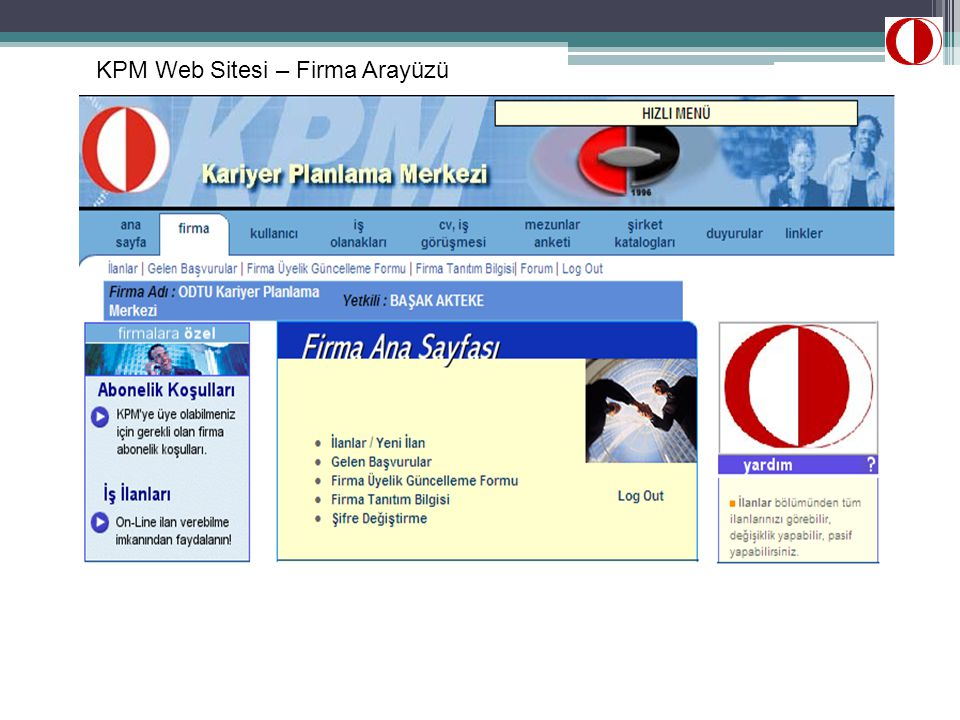 KPM Web Sitesi – Firma Arayüzü