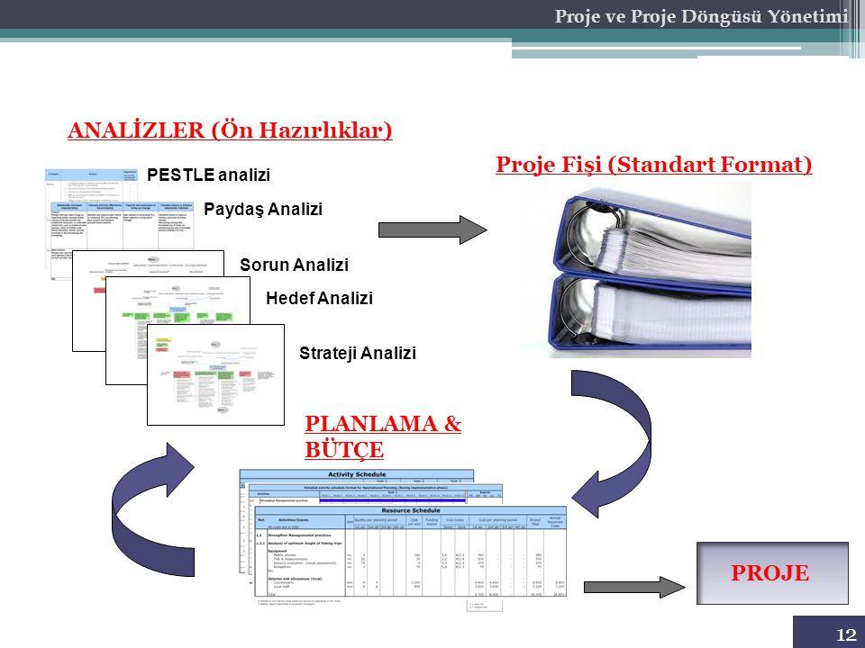 ANALİZLER (Ön Hazırlıklar) Proje Fişi (Standart Format) Proje