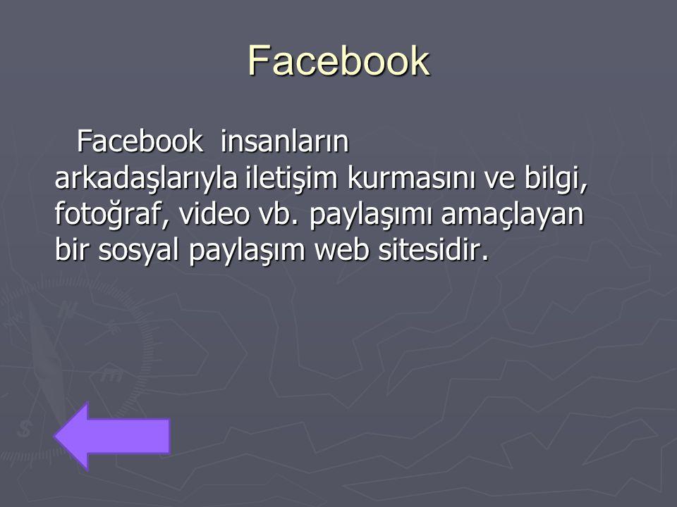 Facebook Facebook insanların arkadaşlarıyla iletişim kurmasını ve bilgi, fotoğraf, video vb.