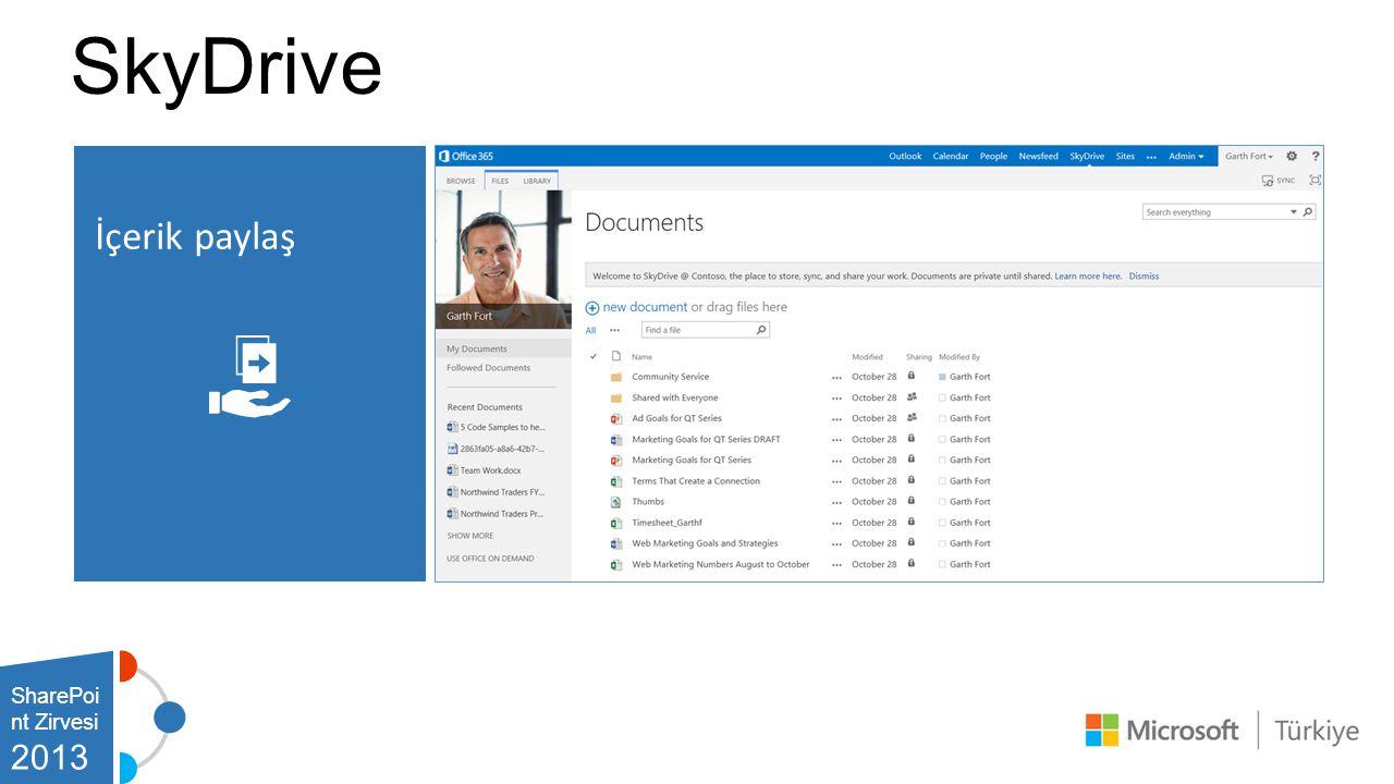 SkyDrive İçerik paylaş SharePoint Zirvesi 2013