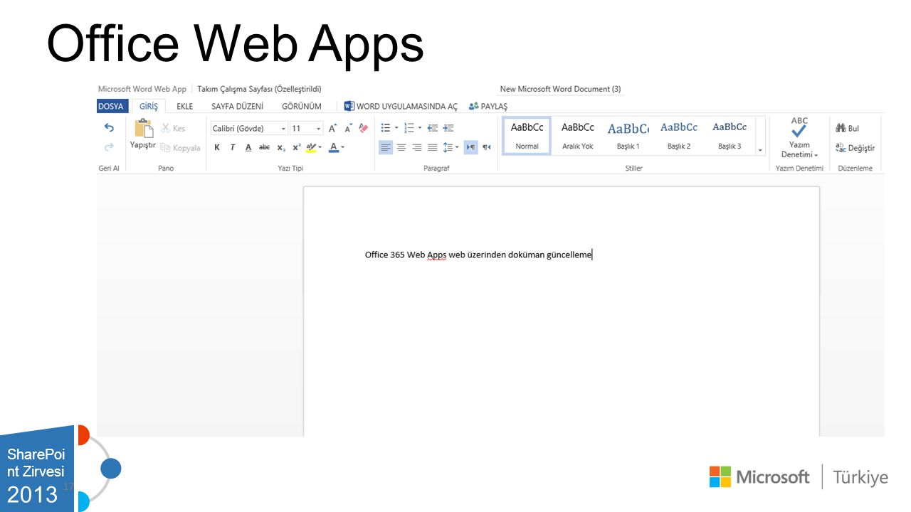 Office Web Apps SharePoint Zirvesi 2013