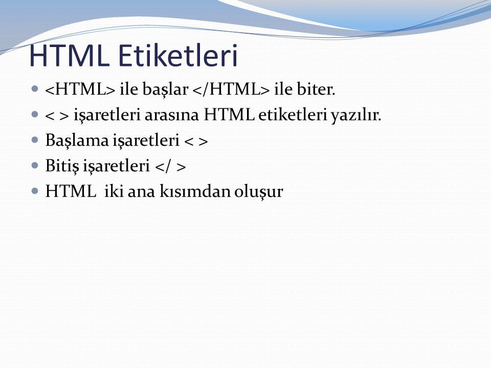 HTML Etiketleri <HTML> ile başlar </HTML> ile biter.