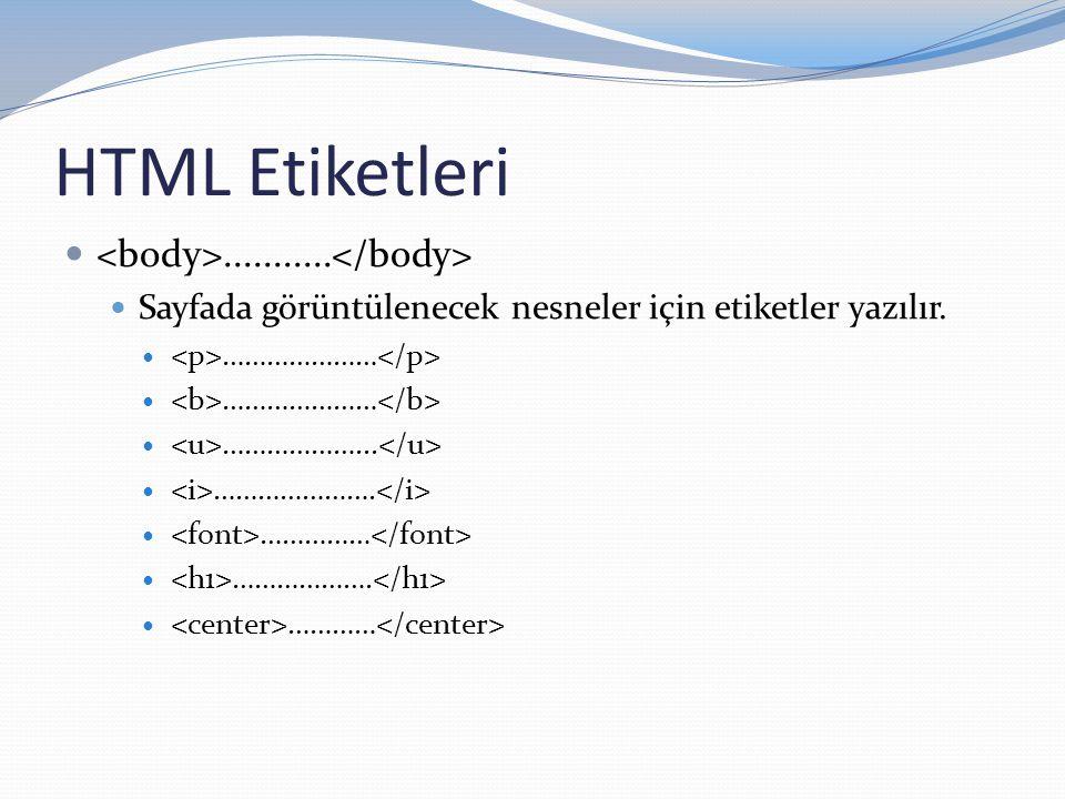 HTML Etiketleri <body>...........</body>