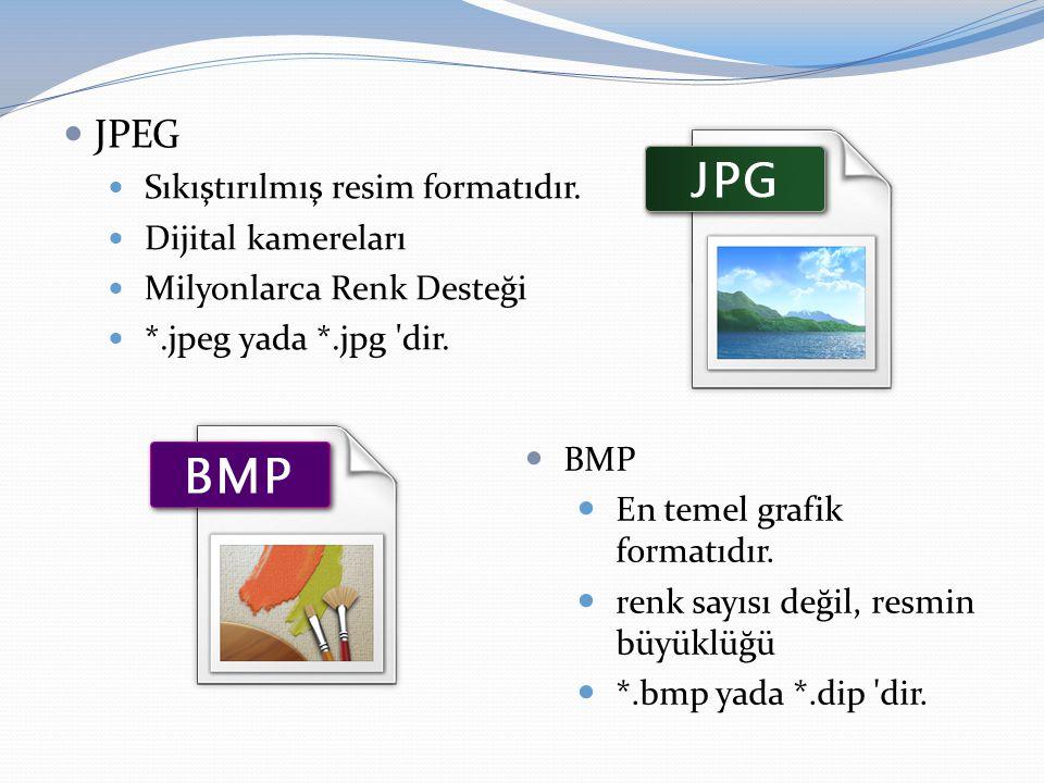 JPEG Sıkıştırılmış resim formatıdır. Dijital kamereları