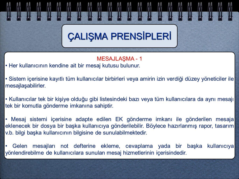 ÇALIŞMA PRENSİPLERİ MESAJLAŞMA - 1