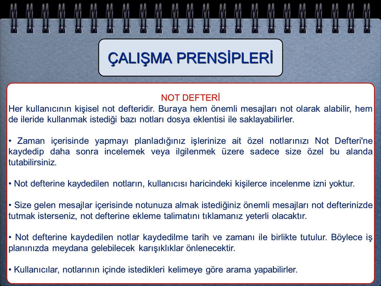 ÇALIŞMA PRENSİPLERİ NOT DEFTERİ