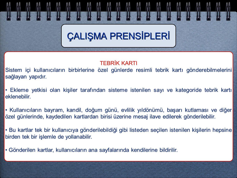 ÇALIŞMA PRENSİPLERİ TEBRİK KARTI