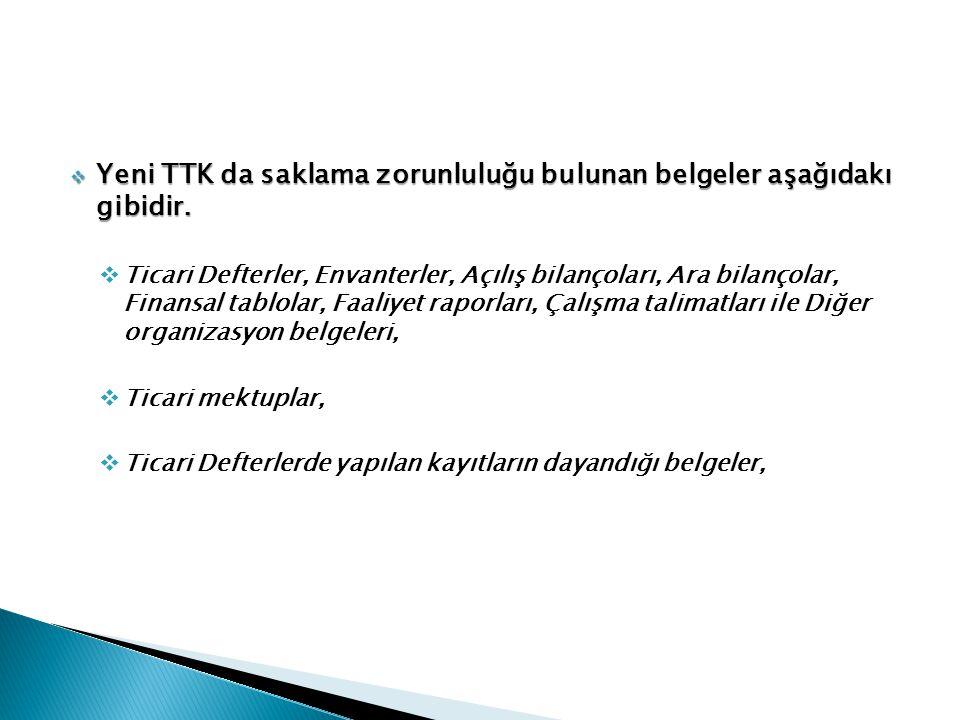 Yeni TTK da saklama zorunluluğu bulunan belgeler aşağıdakı gibidir.
