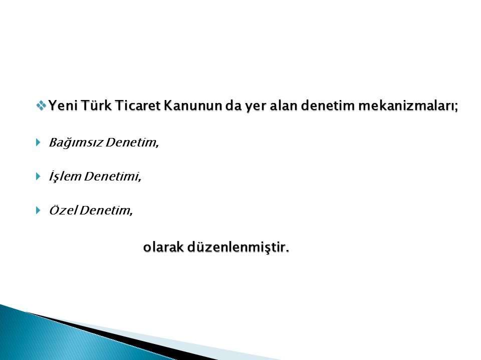 Yeni Türk Ticaret Kanunun da yer alan denetim mekanizmaları;
