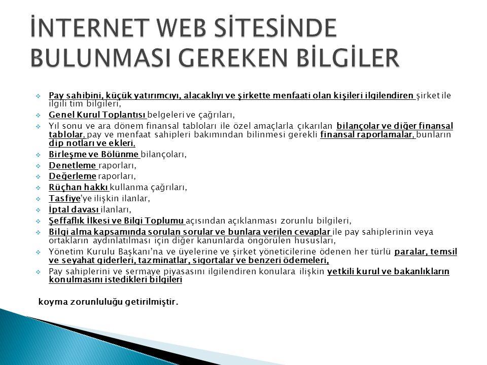 İNTERNET WEB SİTESİNDE BULUNMASI GEREKEN BİLGİLER