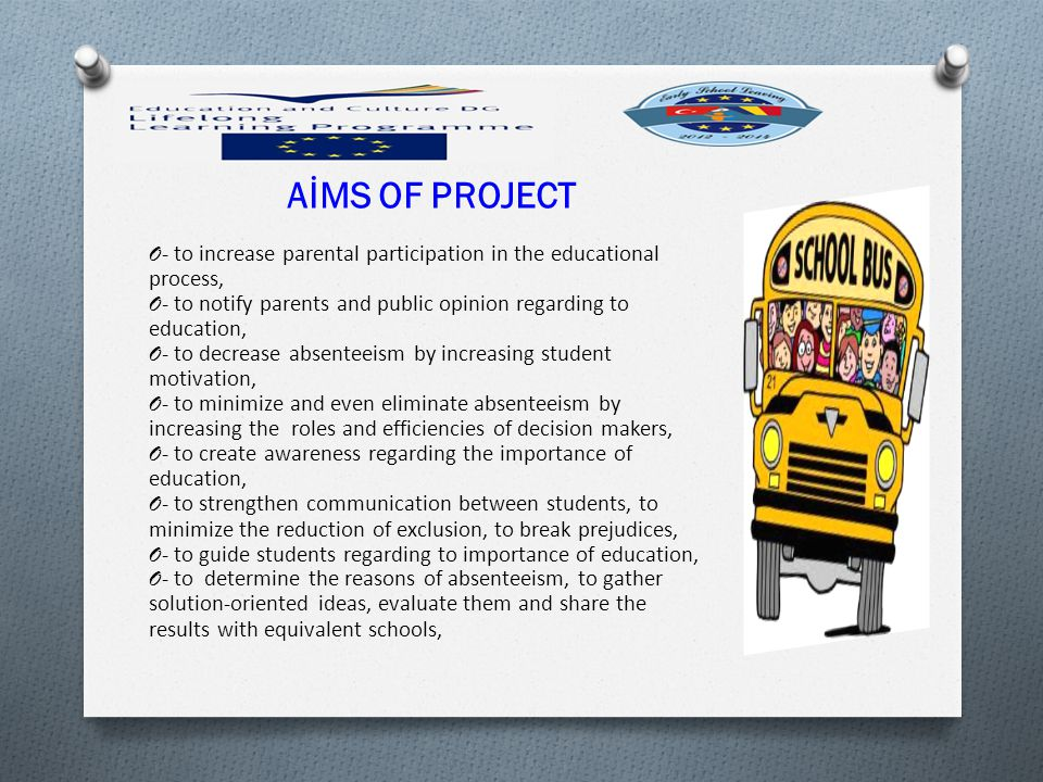 AİMS OF PROJECT - to increase parental participation in the educational process, - to notify parents and public opinion regarding to education,