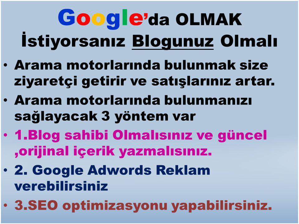 Google'da OLMAK İstiyorsanız Blogunuz Olmalı