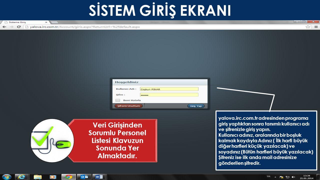 SİSTEM GİRİŞ EKRANI yalova.irc.com.tr adresinden programa giriş yaptıktan sonra tanımlı kullanıcı adı ve şifrenizle giriş yapın.