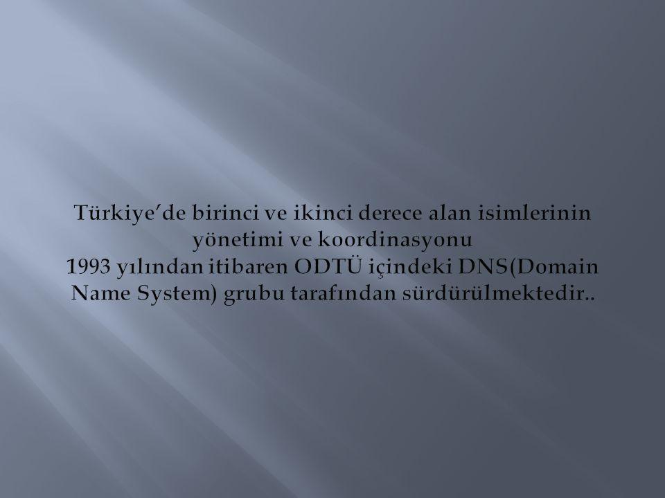 Türkiye'de birinci ve ikinci derece alan isimlerinin yönetimi ve koordinasyonu 1993 yılından itibaren ODTÜ içindeki DNS(Domain Name System) grubu tarafından sürdürülmektedir..