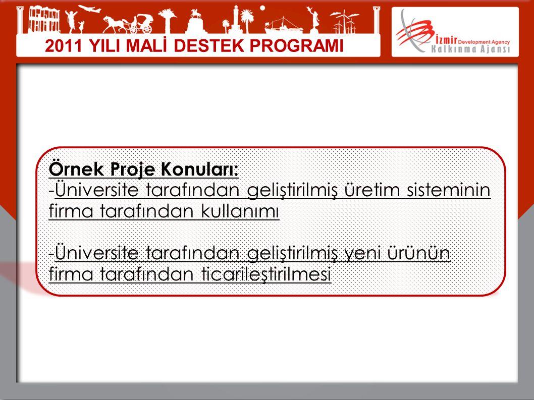 04.04.2017 2011 YILI MALİ DESTEK PROGRAMI. Örnek Proje Konuları: Üniversite tarafından geliştirilmiş üretim sisteminin firma tarafından kullanımı.