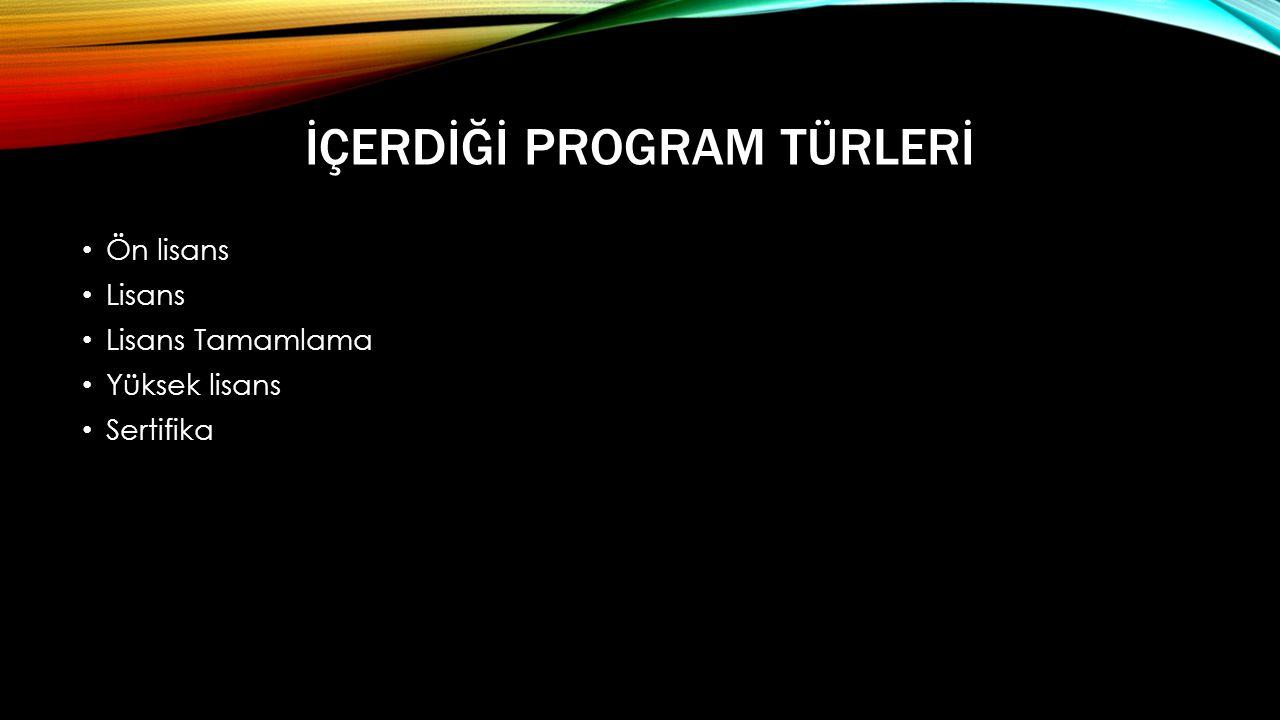 İçerdİğİ Program Türlerİ