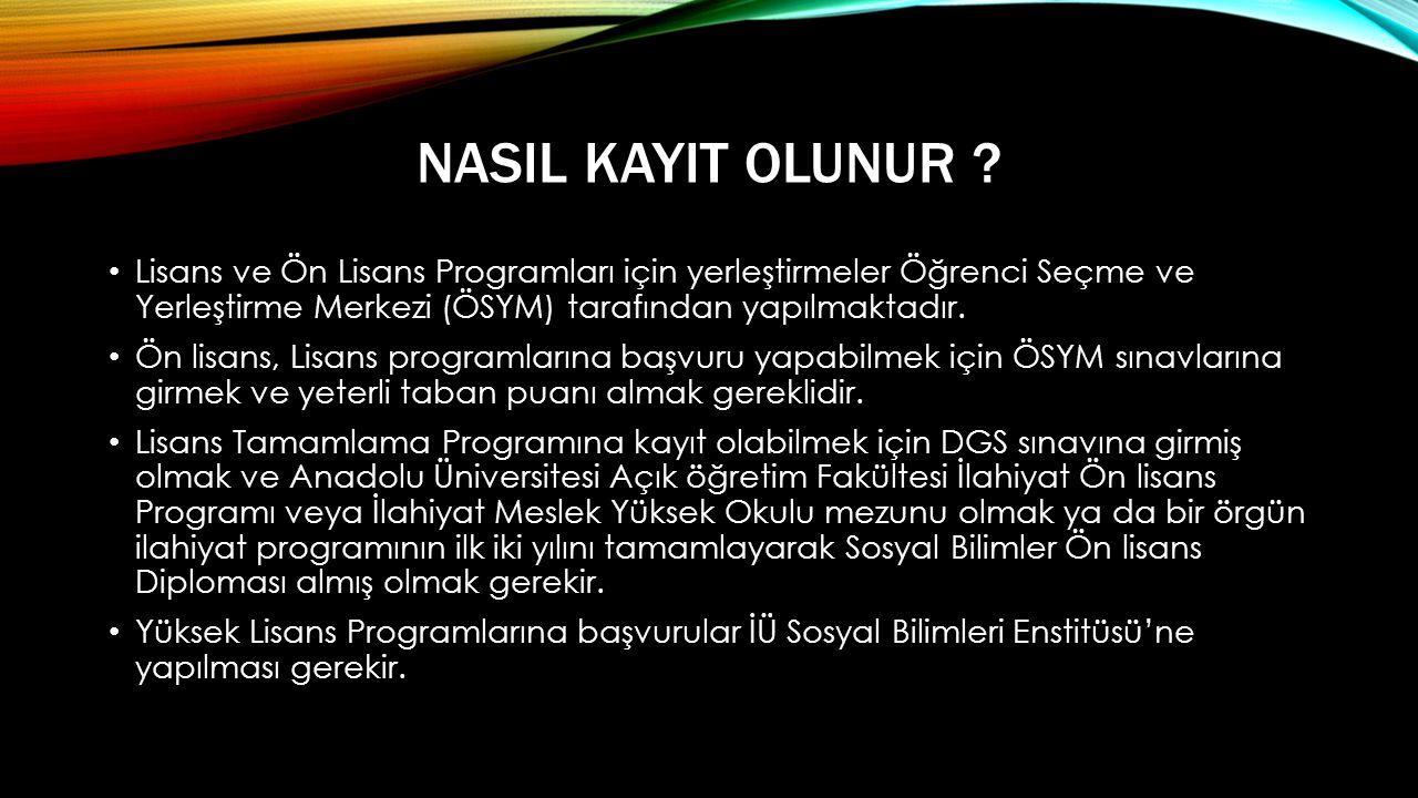 NASIL KAYIT OLUNUR Lisans ve Ön Lisans Programları için yerleştirmeler Öğrenci Seçme ve Yerleştirme Merkezi (ÖSYM) tarafından yapılmaktadır.