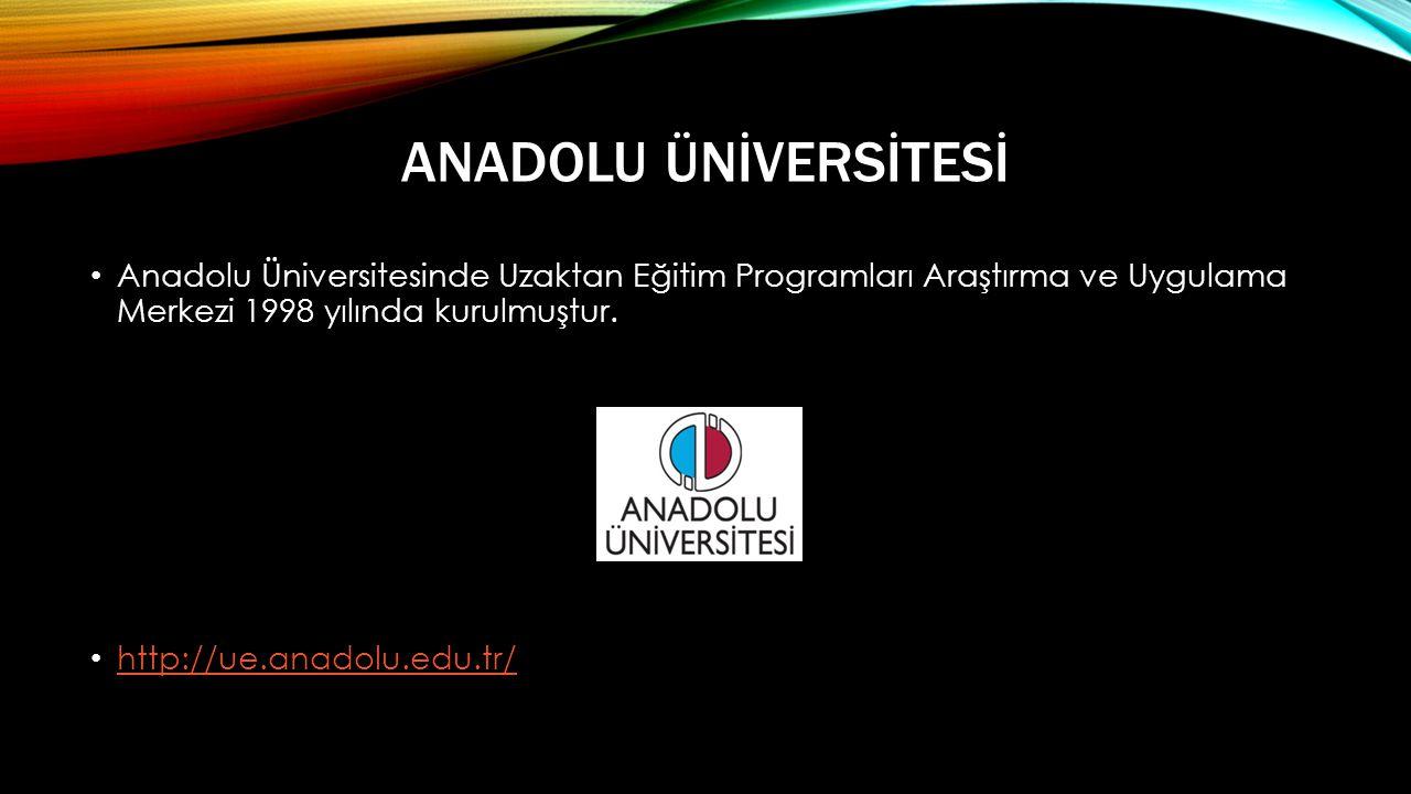 Anadolu Ünİversİtesİ Anadolu Üniversitesinde Uzaktan Eğitim Programları Araştırma ve Uygulama Merkezi 1998 yılında kurulmuştur.