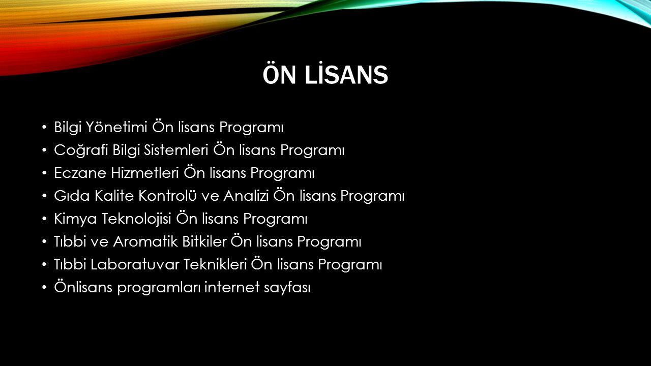 Ön Lİsans Bilgi Yönetimi Ön lisans Programı