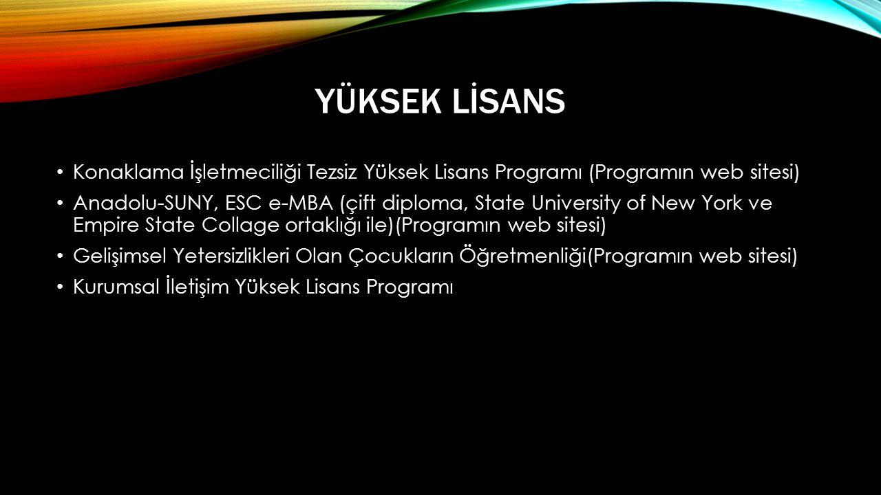 Yüksek Lİsans Konaklama İşletmeciliği Tezsiz Yüksek Lisans Programı (Programın web sitesi)