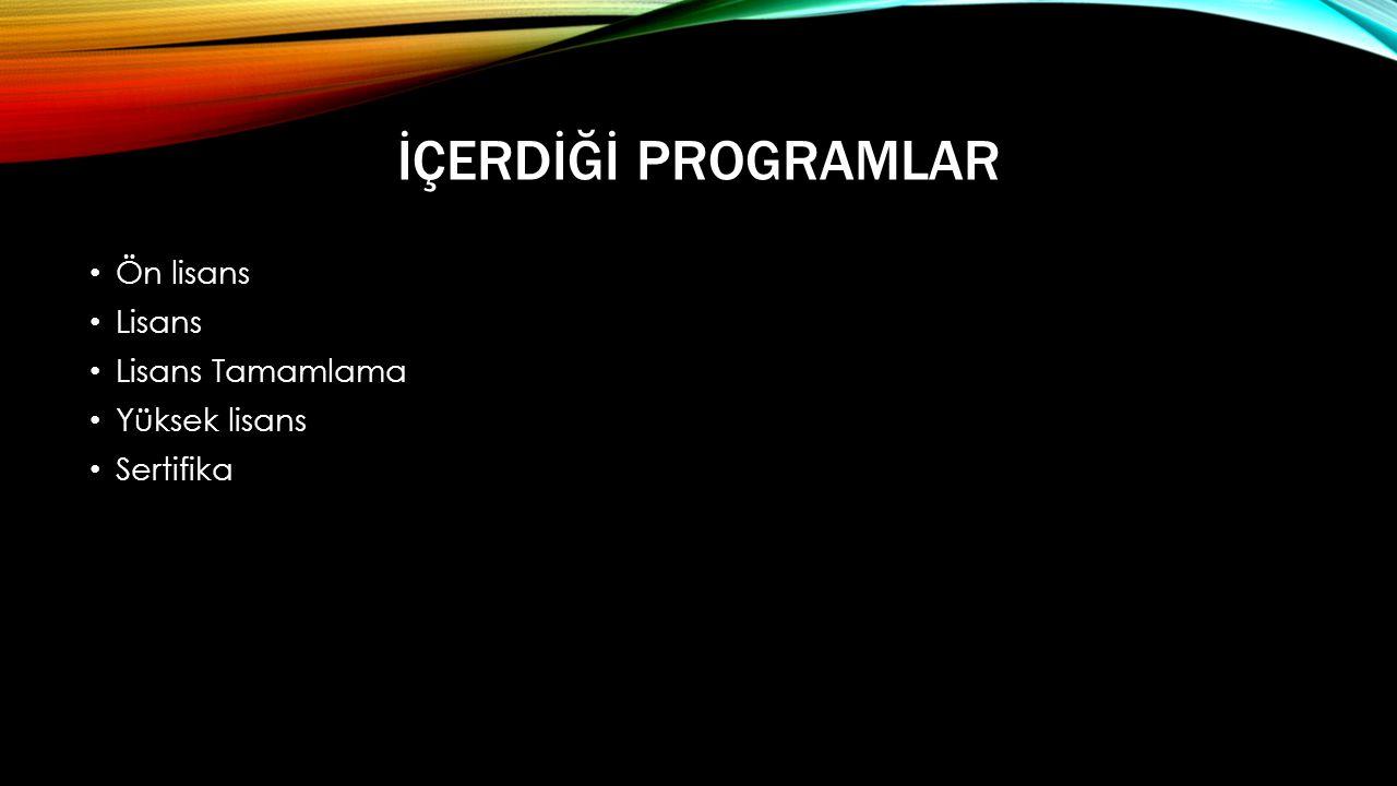 İçerdİğİ Programlar Ön lisans Lisans Lisans Tamamlama Yüksek lisans