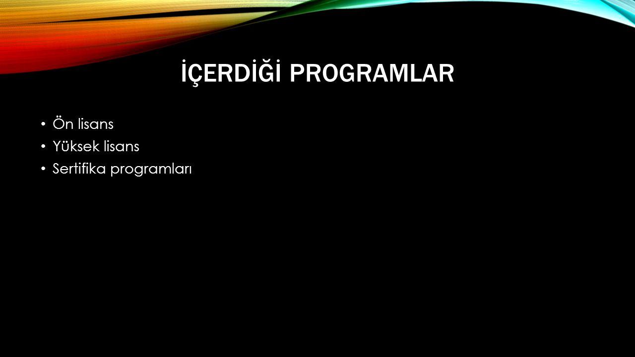 İçerdİğİ Programlar Ön lisans Yüksek lisans Sertifika programları