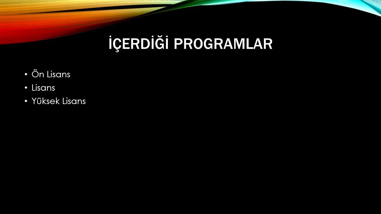 İçerdİğİ Programlar Ön Lisans Lisans Yüksek Lisans