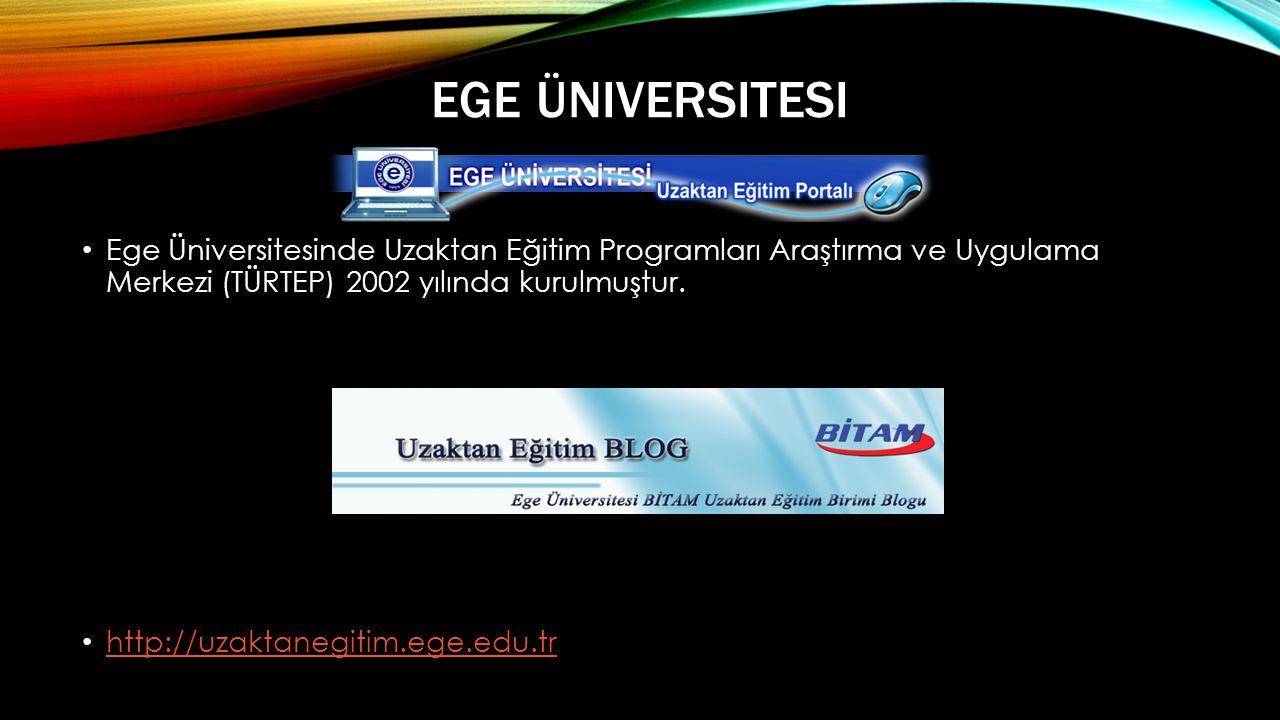 Ege Üniversitesi Ege Üniversitesinde Uzaktan Eğitim Programları Araştırma ve Uygulama Merkezi (TÜRTEP) 2002 yılında kurulmuştur.