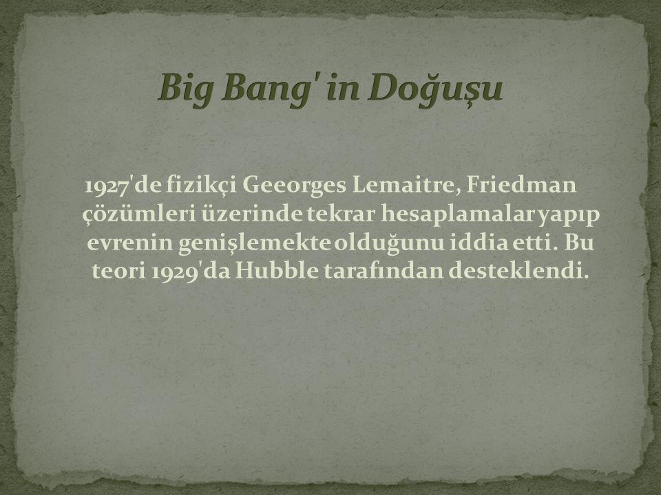 Big Bang in Doğuşu
