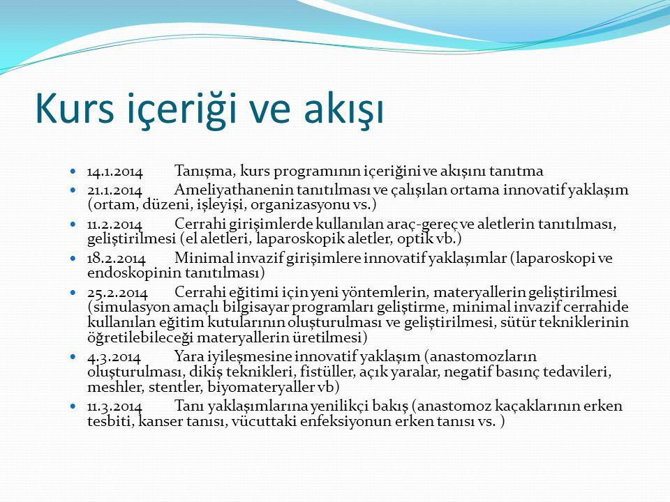 Kurs içeriği ve akışı 14.1.2014 Tanışma, kurs programının içeriğini ve akışını tanıtma.