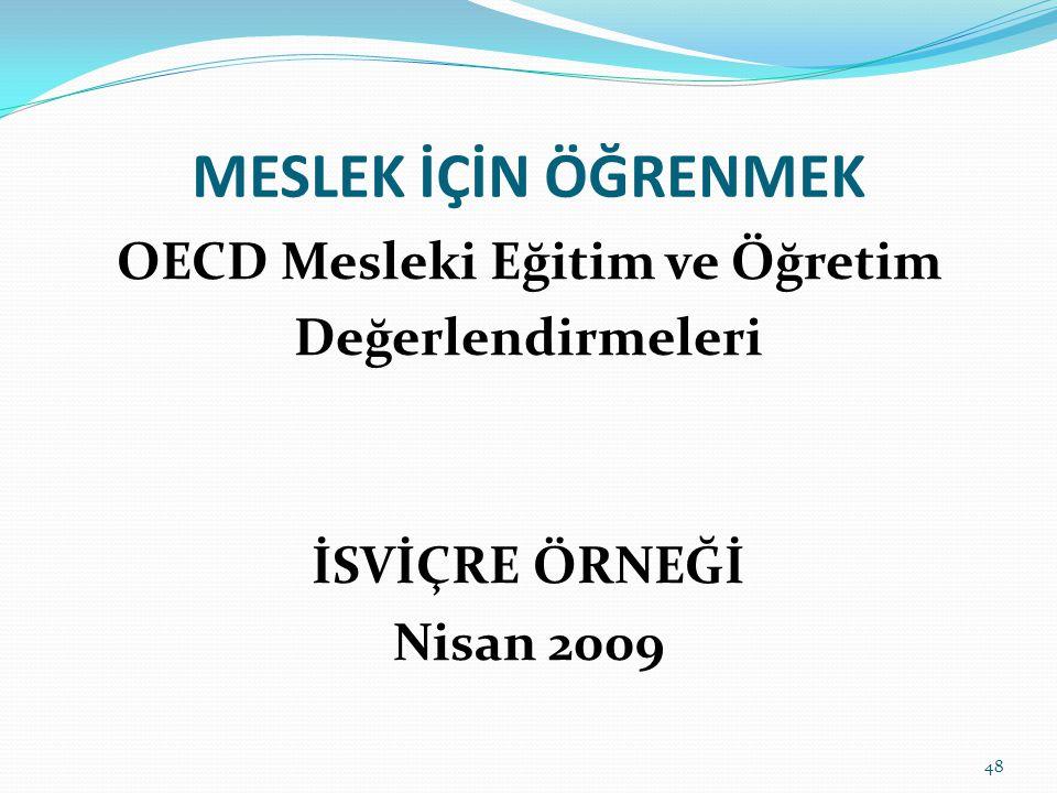 MESLEK İÇİN ÖĞRENMEK OECD Mesleki Eğitim ve Öğretim Değerlendirmeleri İSVİÇRE ÖRNEĞİ Nisan 2009