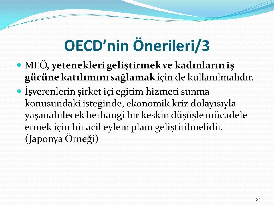 OECD'nin Önerileri/3 MEÖ, yetenekleri geliştirmek ve kadınların iş gücüne katılımını sağlamak için de kullanılmalıdır.