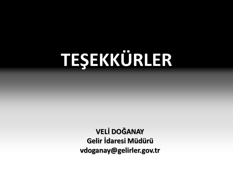 TEŞEKKÜRLER VELİ DOĞANAY Gelir İdaresi Müdürü vdoganay@gelirler.gov.tr