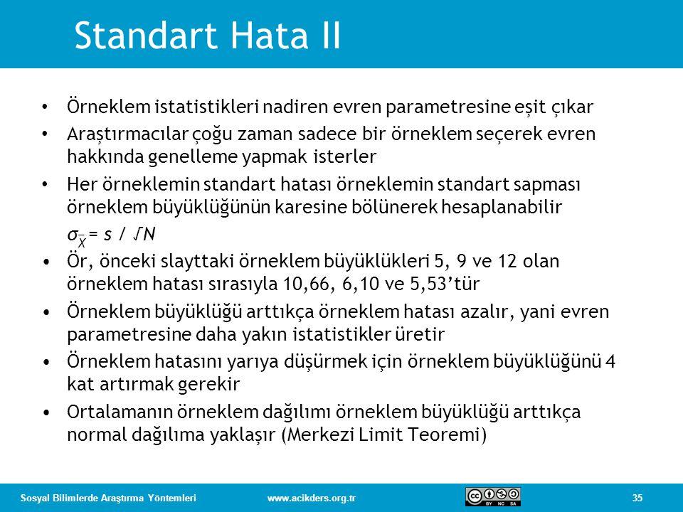 Standart Hata II Örneklem istatistikleri nadiren evren parametresine eşit çıkar.