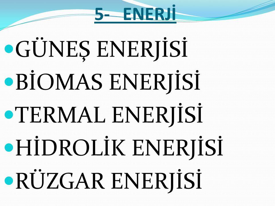 GÜNEŞ ENERJİSİ BİOMAS ENERJİSİ TERMAL ENERJİSİ HİDROLİK ENERJİSİ